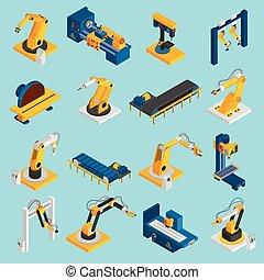 isometrico, robot, macchinario