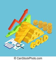 isometrico, sbarra, oro, grafico, monete, dollaro, salita, finanziario, documento, mercato, casato