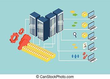 isometrico, scambio, laptop, database, magazzino, computer, disegno, dati, nuvola, 3d