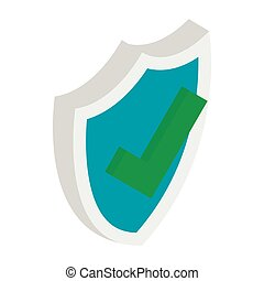 isometrico, scudo, stile, marchio, icona, assegno, 3d