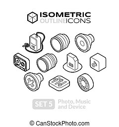 isometrico, set, 5, contorno, icone