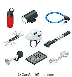 isometrico, set, bicicletta, icone, bicycles., accessori, attrezzi