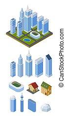 isometrico, set, case, edifici., illustrazione, bianco, fondo., vettore, multi-piano, treble-style