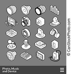 isometrico, set, contorno, icone