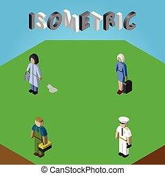 isometrico, set, elements., hostess, persone, marinaio, idraulico, lavoratore, include, marinaio, anche, vettore, pulitore, objects., altro