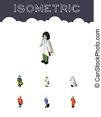 isometrico, set, elements., persone, dottore, dottore, idraulico, idraulico, include, anche, vettore, lavoratore, pulitore, objects., altro