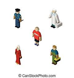 isometrico, set, elements., persone, idraulico, tipo, ragazzo, include, anche, vettore, femmina, objects., femmina, poliziotto, altro