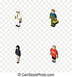isometrico, set, elements., persone, marinaio, idraulico, objects., idraulico, include, anche, vettore, ragazza, uomo, altro