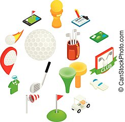 isometrico, set, golf, 3d, icona