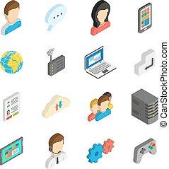 isometrico, set, icona internet