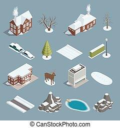 isometrico, set, paesaggio inverno, costruttore