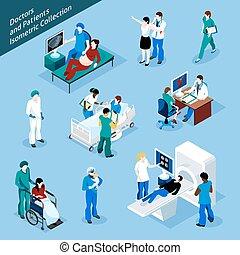 isometrico, set, paziente, dottore, persone, icona