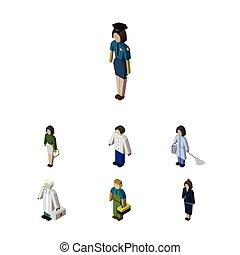 isometrico, set, pedagogo, elements., persone, idraulico, include, anche, vettore, maschio, femmina, objects., pedagogo, tecnico, altro