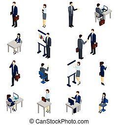isometrico, set, persone affari