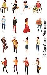 isometrico, set, persone, icone