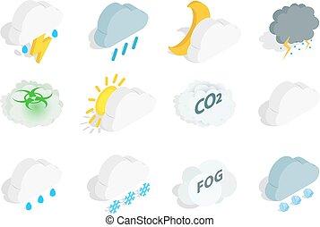 isometrico, set, stagione, stile, nuvola, icona