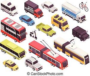 isometrico, set, trasporto