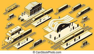 isometrico, set, treno, vettore, stazione, locomotiva