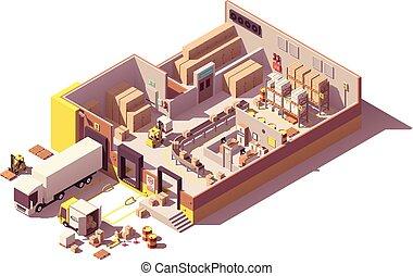 isometrico, sezione trasversale, poly, vettore, basso, magazzino