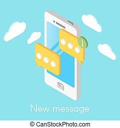 isometrico, smartphone, messages., illustrazione, vettore, nuovo
