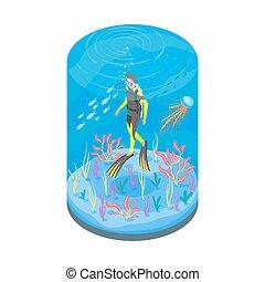 isometrico, snorkelling, illustrazione, apparecchiatura, vettore, tuffatore, 3d