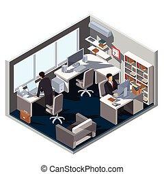 isometrico, stanza, ufficio, illustrazione, vettore, interno, 3d