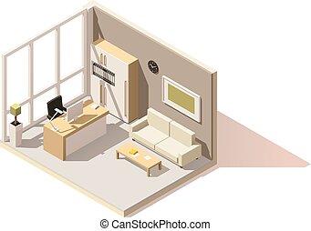 isometrico, stanza, ufficio, poly, vettore, basso