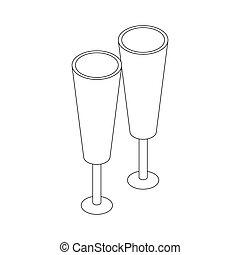 isometrico, stile, due, icona, occhiali, 3d