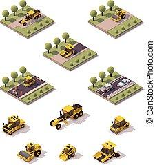 isometrico, superficie, vettore, fabbricazione, tecnologia, strada