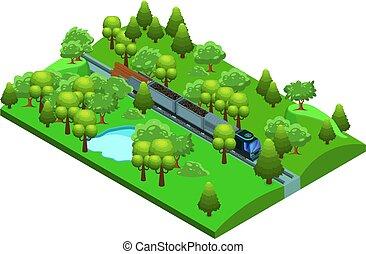 isometrico, treno, nolo, sagoma