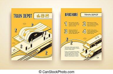 isometrico, treno, vettore, sagoma, opuscolo, deposito