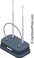 isometrico, tv, stile, icona, interno, antenna