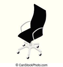 isometrico, ufficio, moderno, isolato, sfondo nero, sedia, vista, bianco, mobilia