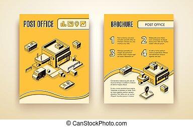 isometrico, ufficio, vettore, opuscolo, promozione, postale