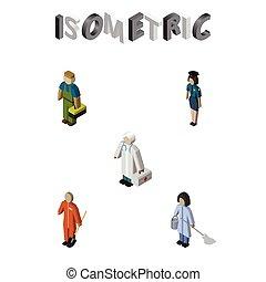 isometrico, umano, set, di, domestica, pulitore, medico, e, altro, vettore, objects., anche, include, pulitore, domestica, lavoratore, elements.