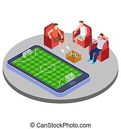 isometrico, uomini, football, orologio, illustrazione, birra, vettore, linea