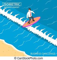 isometrico, uomo affari, surfing, su, onda