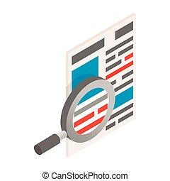 isometrico, vetro, giornale, icona, ingrandendo, 3d