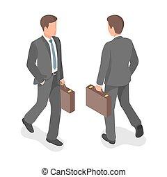 isometrico, vettore, businessman., illustrazione