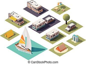 isometrico, vettore, campeggio, icone