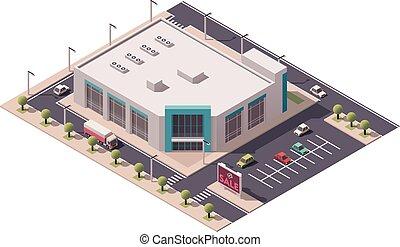 isometrico, vettore, centro commerciale