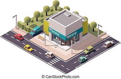 isometrico, vettore, farmacia