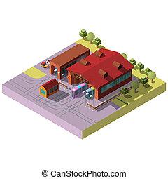 isometrico, vettore, ferrovia, deposito, trasporto, hangar