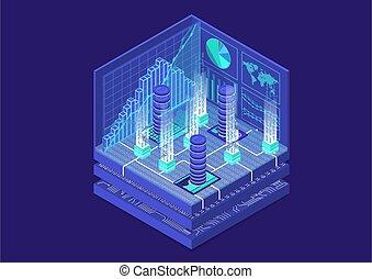 isometrico, vettore, finanziario, illustration., astratto, bitcoin, infographic, tecnologia, 3d