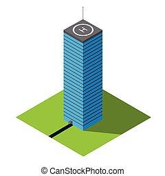 isometrico, vettore, grattacielo, illustrazione