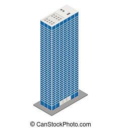isometrico, vettore, grattacielo
