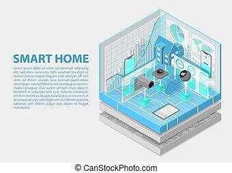 isometrico, vettore, illustration., astratto, relativo, automazione, infographic, casa, soggetti, far male, 3d