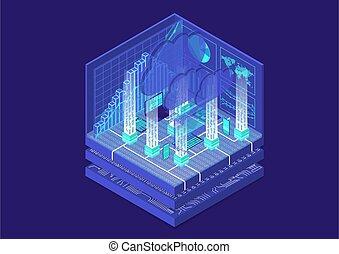 isometrico, vettore, illustration., calcolare, mobile, astratto, congegni, infographic, nuvola, 3d