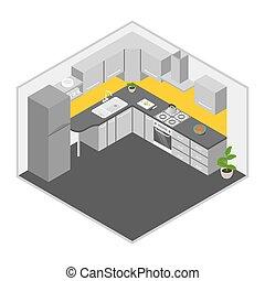 isometrico, vettore, illustrazione, kitchen.