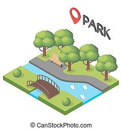 isometrico, vettore, illustrazione, park.